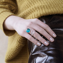 sterling_silver_Tina_Kotsoni_ocean_green_chalcedony_stone_ring_handmade_Greece_Greek_statement