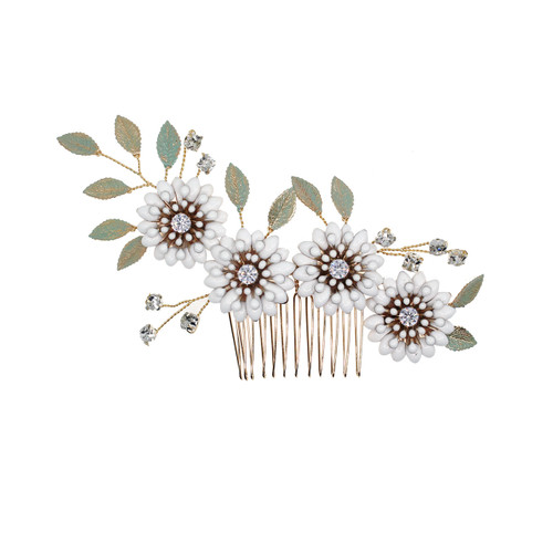 hair_comb_gold_white_leafy_floral_wedding_accessories_bridal_hair_accessories_bohemian_rustic