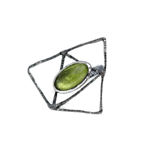 handmade_oxidised_sterling_silver_geometric_ring_green_gemstone_statement_Greece_Tina_Kotsoni