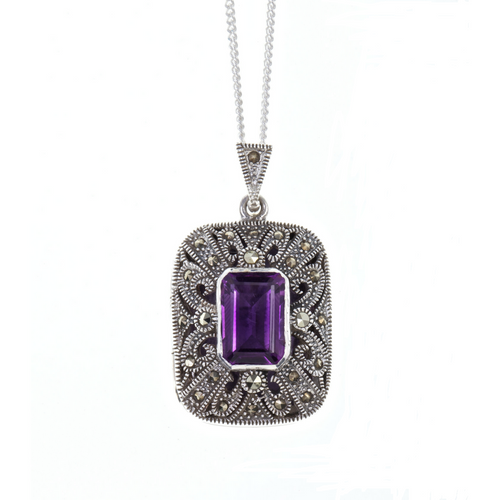 LILY BLANCHE Sterling Silver Art Deco Vintage Amethyst Photo Locke