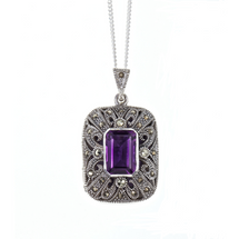 LILY_BLANCHE_Sterling_Silver_Art_Deco_Vintage_Amethyst_Photo_Locket_necklace