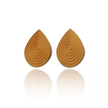 Eve Balashova Large Mustard Yellow Teardrop 3D Print Earrings