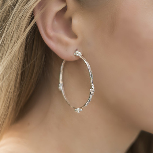 sterling_silver_lightly_hammered_hoops_textured_earrings_ball_clusters_statement
