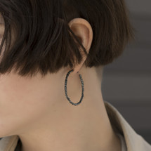 Mounir_London_oxidised_sterling_silver_statement_hoop_earrings_textured_dark_grey_handmade