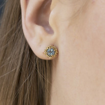 Mounir_London_handmade_gold_plated_sterling_silver_blue_topaz_stone_earrings_studs_textured_small