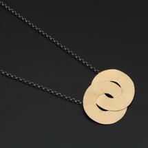 Deco_Echo_handmade_jewellery_necklace_gold_plating_oxidised_sterling_silver_interlocking_circles_Poland