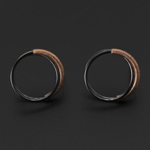 Deco_Echo_handmade_jewellery_earrings_studs_rose_gold_plating_oxidised_sterling_silver_double_looped