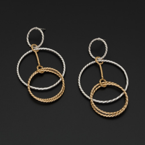 Deco_Echo_handmade_jewellery_earrings_statement_sterling_silver_gold_plating_linked_circles_made_in_Poland