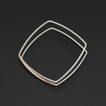 Deco_Echo_handmade_jewellery_from_Poland_bracelet_bangle_square_shaped_sterling_silver_rose_gold_plating