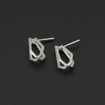 Deco Echo - Sterling Silver 3D Geometric Earrings