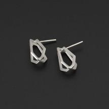 Deco Echo - Sterling Silver 3D Geometric Earrings