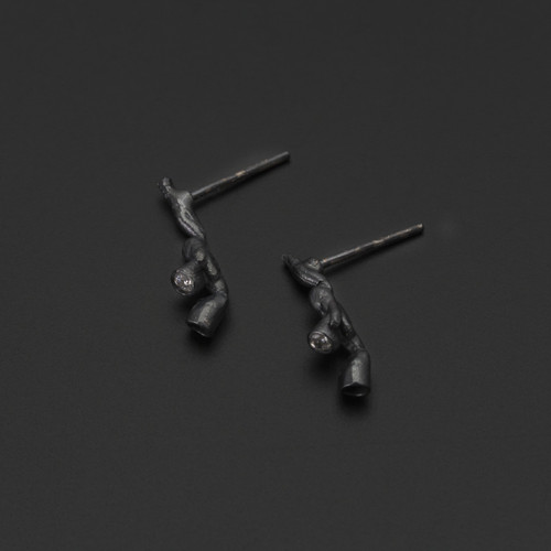 Deco_Echo_handmade_jewellery_from_Poland_oxidised_sterling_silver_white_cubic_zirconia_crystals_earrings