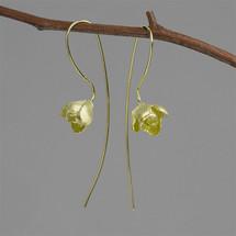 gold_plating_sterling_silver_jasmine_flower_long_earrings_nature_inspired_botanic_garden_collection