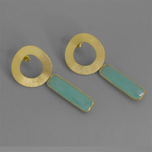 Botanic_collection_earrings_statement_gold_plating_sterling_silver_green_chalcedony_stone_stylish_circle_rectangle_elegant