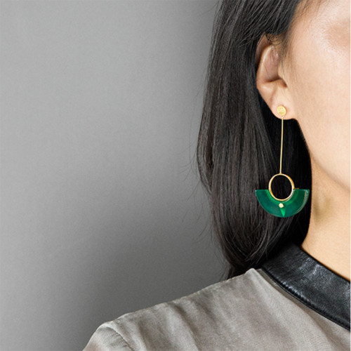 Botanic_Garden_collection_handmade_jewellery_China_earrings_statement_long_large_gold_plating_sterling_silver_green_agate_stone_on_trend_jewellery