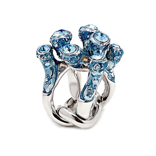 Simon_Harrison_jewellery_statement_chunky_Coral_collection_ring_blue_silver_Swarovski_crystals_chain_ring