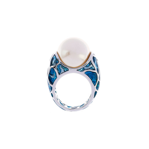 Simon_Harrison_jewellery_London_ring_Transformation_collection_statement_chunky_Swarovski_glass_pearl_enamel_rhodium_plating_white_metal_blue