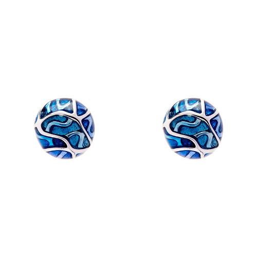 Simon_Harrison_jewellery_London_earrings_studs_Transformation_collection_blue_see_through_white_metal_rhodium_plating_enamel