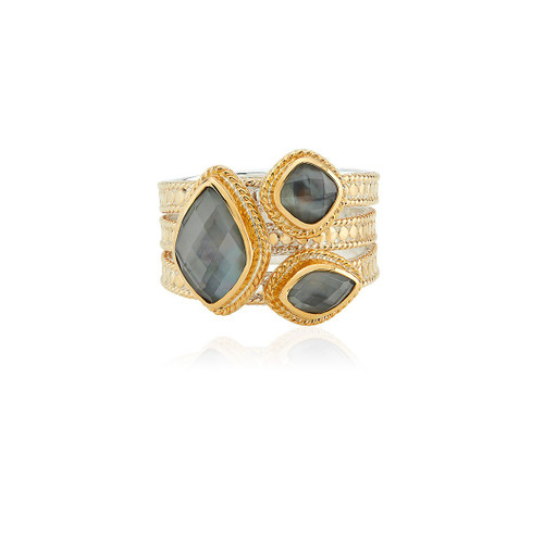 Anna_Beck_handmade_jewellery_ring_faux_stacking_gemstones_grey_quartz_gold_plating_sterling_silver_statement_handmade_in_Bali