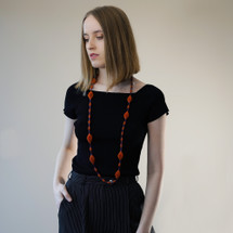 Tzuri_Gueta_Paris_handmade_jewellery_silicone_viscose_orange_blue_long_necklace_organic_looking_statement_chunky