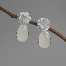 Camellia silver flower with moonstone drop earrings