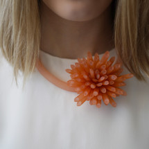 Tzuri_Gueta_handmade_statement_jewellery_silicone_viscose_flower_chunky_orange_choker_necklace