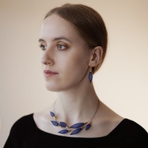 'Collier-Pineux' Choker Necklace Gold Plated Dark Blue Bleu Roi Ras de cou Épineux
