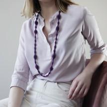 Tzuri_Gueta_handmade_long_necklace_chunky_statement_purple_pendant_silicone_viscose_organic_styled_dark_purple