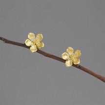sterling_silver_gold_plated_peach_blossom_flower_earrings_studs_nature_inspired_open_flower_Botanic_Garden_handmade