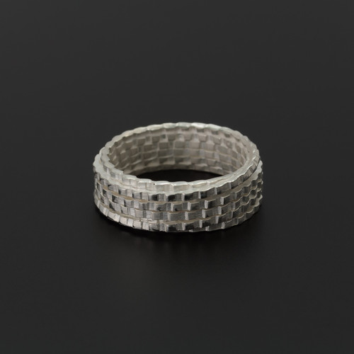 Deco_Echo_handmade_jewellery_sterling_silver_ring_textured_chunky_band_handmade_in_Poland