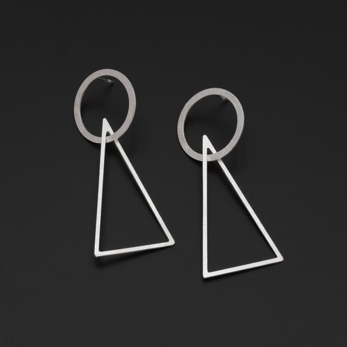 Deco_Echo_handmade_jewellery_sterling_silver_geometric_triangle_circle_long_large_statement_drop_dangle_earrings_Poland