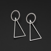Deco_Echo_handmade_jewellery_sterling_silver_geometric_triangle_circle_long_large_statement_drop_dangle_earrings_Poland