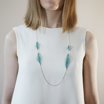 VLUM_handmade_jewellery_necklace_long_nylon_threads_brass_silver_plating_bright_blue_green_statement_lightweight_jewellery