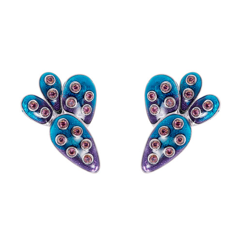 Simon_Harrison_handmade_jewellery_earrings_clip_on_ombre_silver_Swarovski_crystals_cacti_cactus_Frida_Kahlo_collection_London_designer
