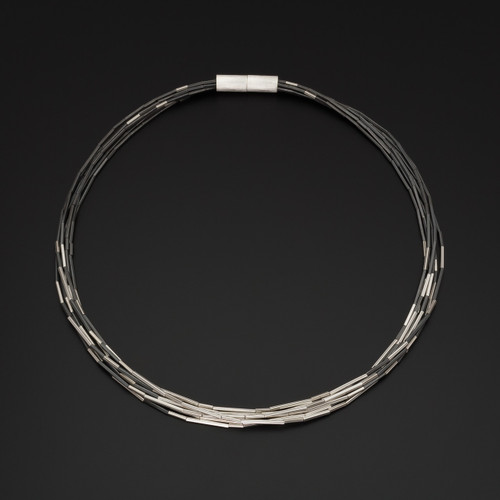 Deco_Echo_handmade_jewellery_necklace_choker_sterling_silver_chunky_handmade_in_Poland_magnetic_finish