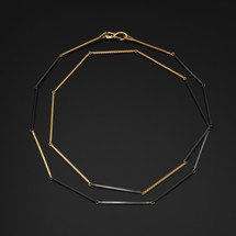 Deco_Echo_handmade_jewellery_necklace_long_linked_gold_plated_oxidised_oxidised_sterling_silver_handmade_in_Poland