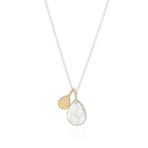 Anna_Beck_handmade_jewellery_made_in_Bali_sterling_silver_gold_plating_dotted_hammered_teardrop_necklace_pendant_reversible