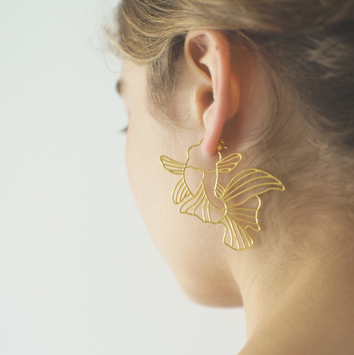 Large 22k Gold plated 925 Silver Koi Goldfish Hoop Hoops Earrings