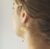 Large 22k Gold plated 925 Silver Japanese Fan Coral Earrings