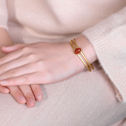 Amira_S_handmade_jewellery_bracelet_bangle_cut_out_design_sterling_silver_gold_plating_red_agate