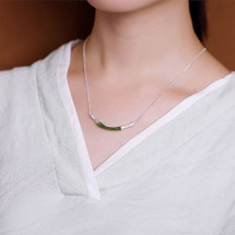 Amira_S_sterling_silver_necklace_pendant_curved_bamboo_inspired_jade_stone_handmade