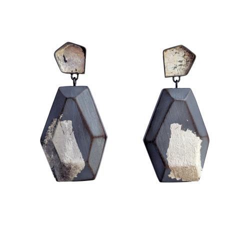 cristina zani, large grey with silver leaf geometric drop earrings.