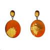 Cristina Zani Large Fiery Oval Geometric Drop Earrings with gold brush