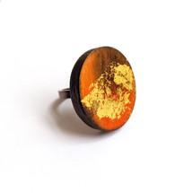 Cristina Zani Large Fiery Oval Geometric Ring wood, oil painting ring