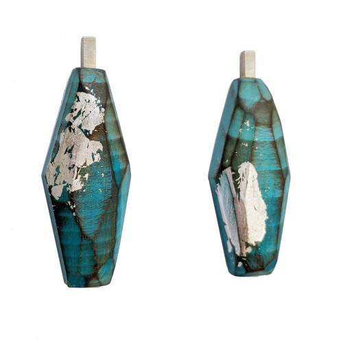 Cristina Zani Large Turquoise Blue Geometric Rectangle Drop Earrings