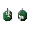 Cristina Zani Large Dark Forest Green Geometric Rectangle Drop Earrings