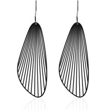 Moorigin Fan Drop Earrings Large Black