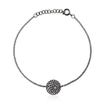 Moorigin_jewellery_bracelet_bangle_black_PVD_plating_stainless_steel_delicate_Dahlia_disc_circle