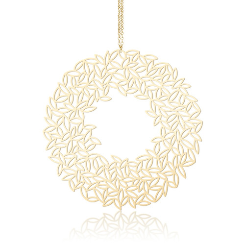 Moorigin_jewellery_leafy_floral_necklace_pendant_long_statement_gold_plating_PVD_plating_circular_disc