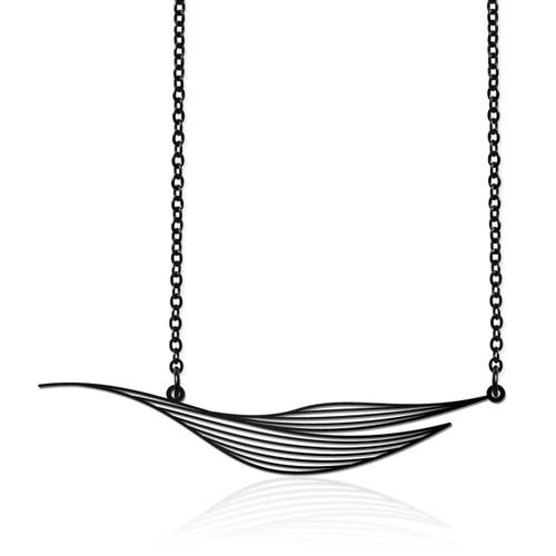 Moorigin_jewellery_necklace_pendant_black_PVD_plating_Ripple_nature_inspired_jewellery_made_in_Taiwan